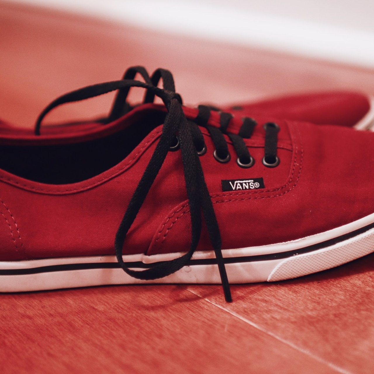 6f80895a4e118c Maroon Vans Sneakers •Used •Barely ever worn •Size 7.5 me - Depop