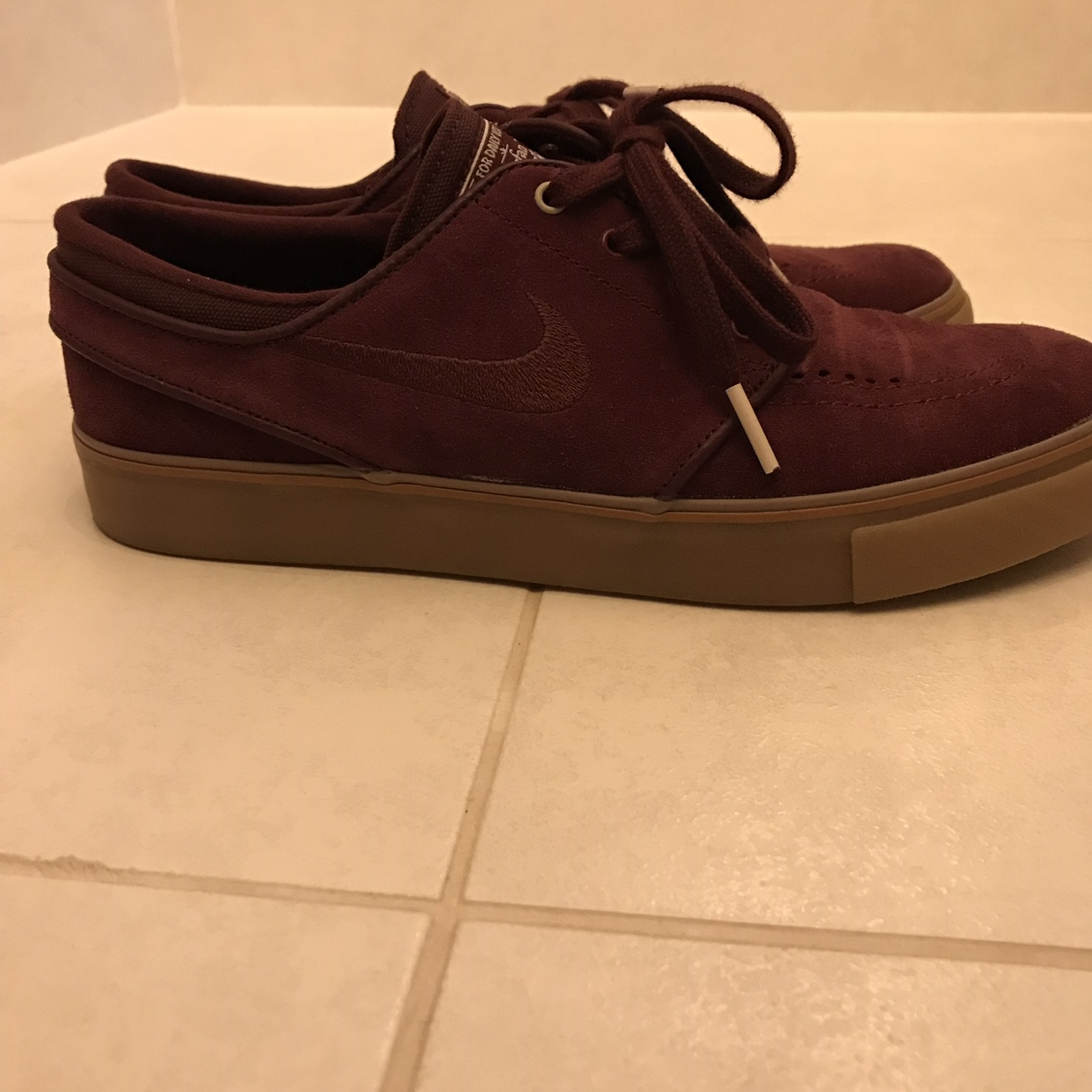release info on official supplier factory outlet Nike SB Stefan Janoski, burgundy suede, gum sole,... - Depop