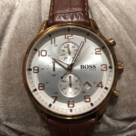 Men S Rose Gold Leather Hugo Boss Stainless Steel Watch But Depop