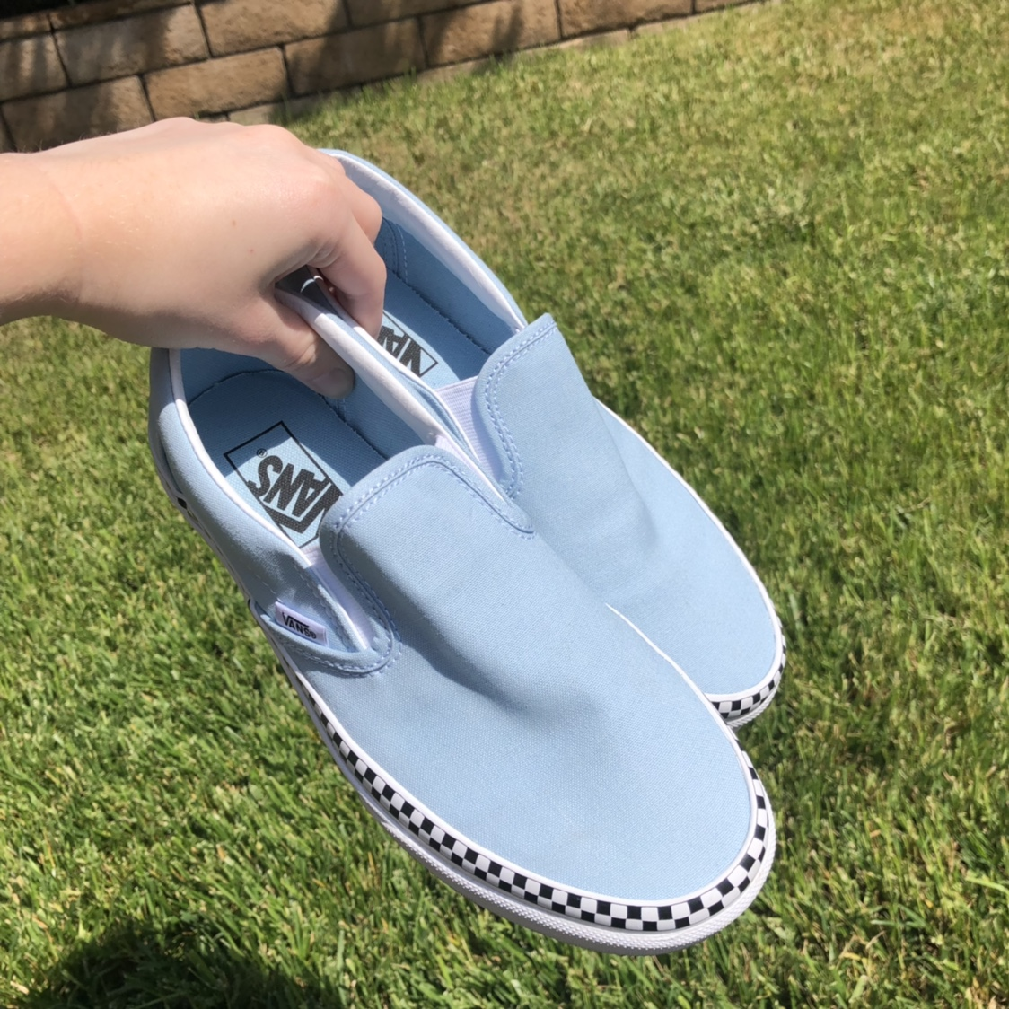 baby blue vans with checkerboard stripe
