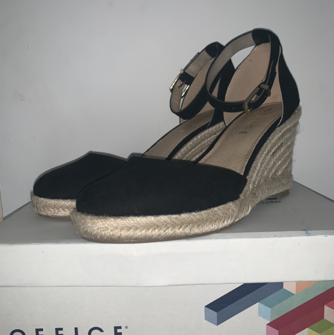 2297307b8bc Office Marsha closed toe ESPADRILLE WEDGES with gold... - Depop