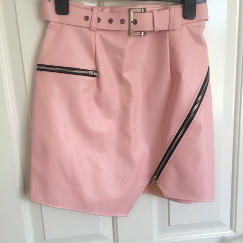 bc4833e12d missguided faux leather pink short skirt • size 8 (could fit - Depop