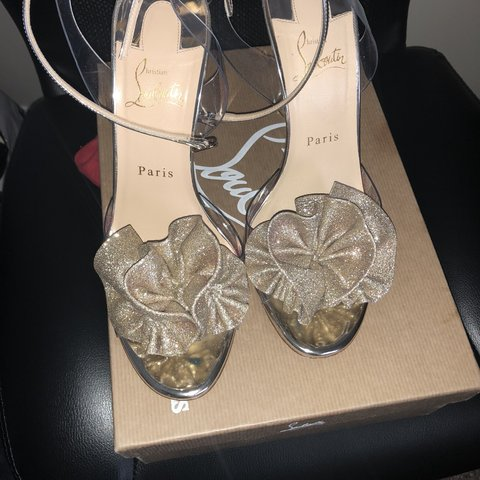23d408737620 Christian Louboutin Gold Fossiliza 100 Glitter Pvc Ankle and - Depop