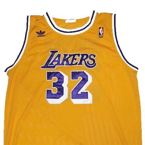 c08e520e989 NBA Adidas Los Angeles Lakers Magic Johnson Replica Jersey   - Depop