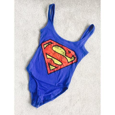 5c23db1f56 Superman bodysuit Size 8 Only worn once for a photo shoot - Depop