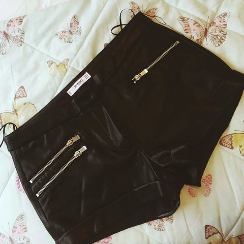 c6a27c7631 Small  Mango faux leather shorts. Fits 6 8 Never been worn - Depop