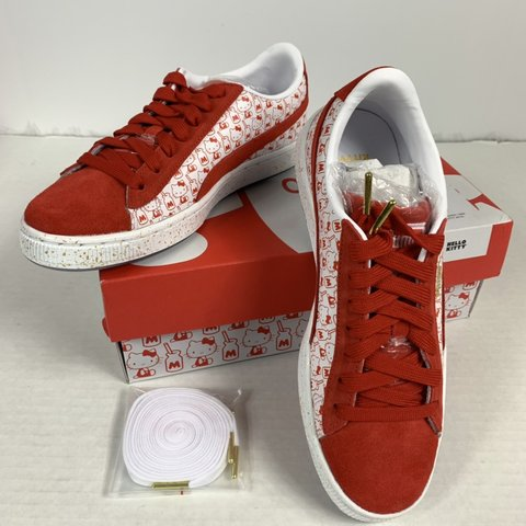 0baeb92872f NEW PUMA x HELLO KITTY Suede Classic White Red Youth Junior - Depop