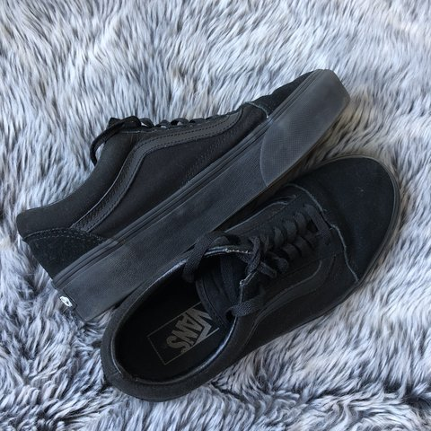79a5d49ff93f2 Black Platform Vans size 6. Good condition as only worn a I - Depop