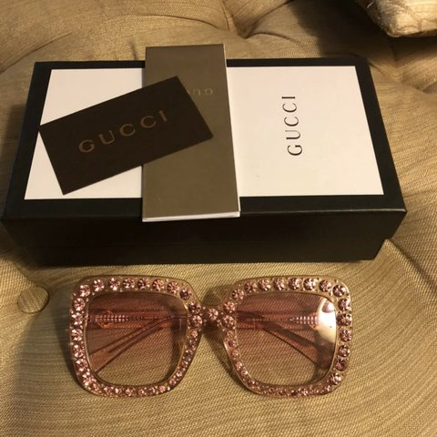 45d73bdf047 Gucci sunglasses  Oversized and pink with crystals - Depop