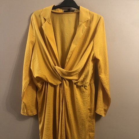 c74aa34cbfd Mustard satin wrap plunge dress from missguided