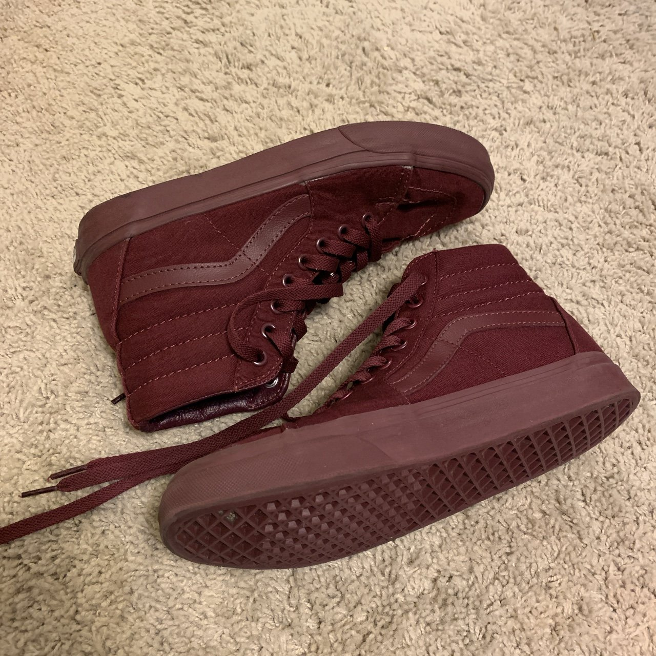 c5813b414520 Barely worn Maroon Hightop VANS!! They are in perfect like - Depop