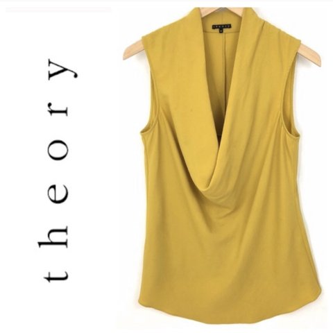 7793d1b2b5c7cb Theory Cowl Neck Silk Tank, Size S. Color: gold. Orig $228. - Depop