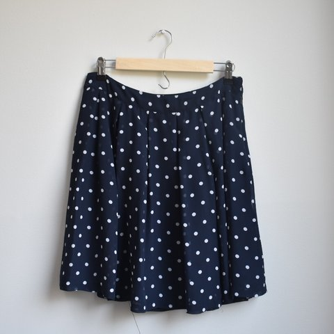 be903eaa99 Navy and White Polka Dotted Skirt Brand: H&M Size: 8 💯% got - Depop