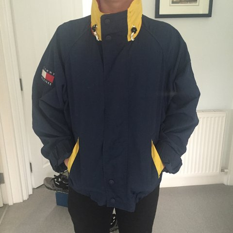 3e7c5eaf @10aciprini. 2 years ago. London, UK. Tommy Hilfiger Windbreaker Spellout  Jacket// size Medium// Red, Yellow ...