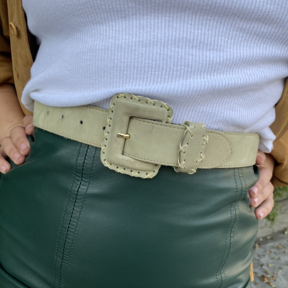 Vintage Mint Green Genuine Leather Suede Belt With by Depop