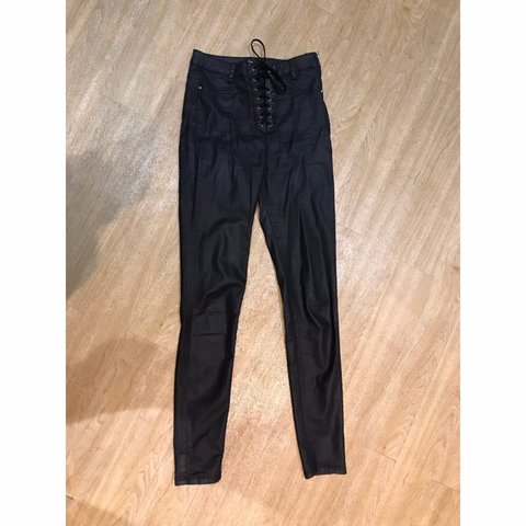 857e82d4 @charlottie_. 4 months ago. Borehamwood, United Kingdom. Missguided Black Coated  High Waisted Lace Up Skinny Jeans.