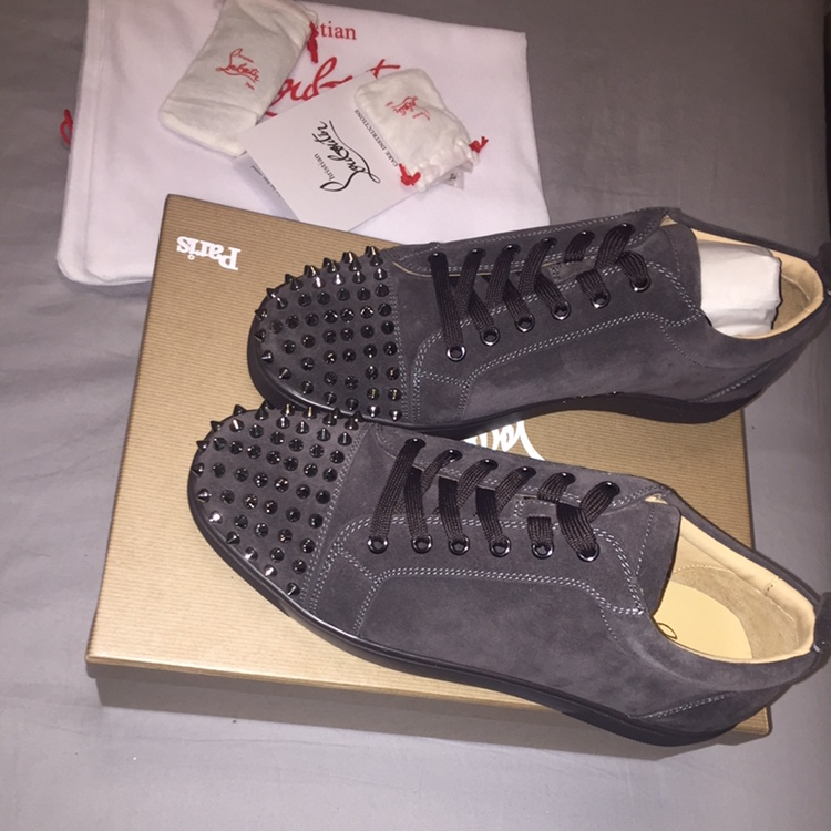 newest fd617 9be81 Grey suede spiked louboutin Sneakers In perfect... - Depop