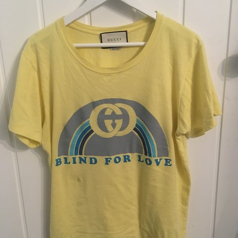 783e8968 @theplug6969. 2 months ago. United Kingdom. Gucci blind for love men's/ women's yellow Gucci t-shirt ...
