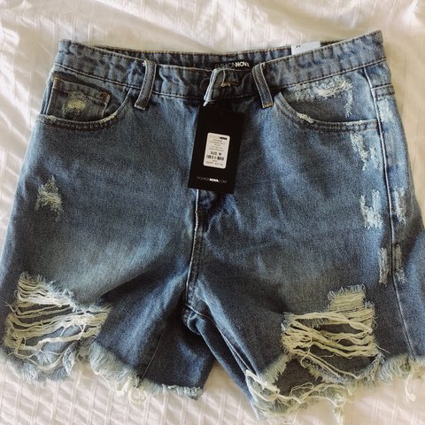 63cfc8762db boyfriend style distressed denim shorts - from Fashion Nova. - Depop