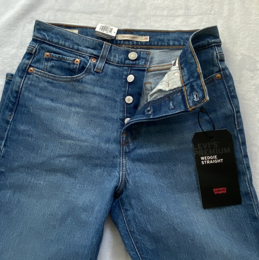 Wedgie straight high rise blue jeans
