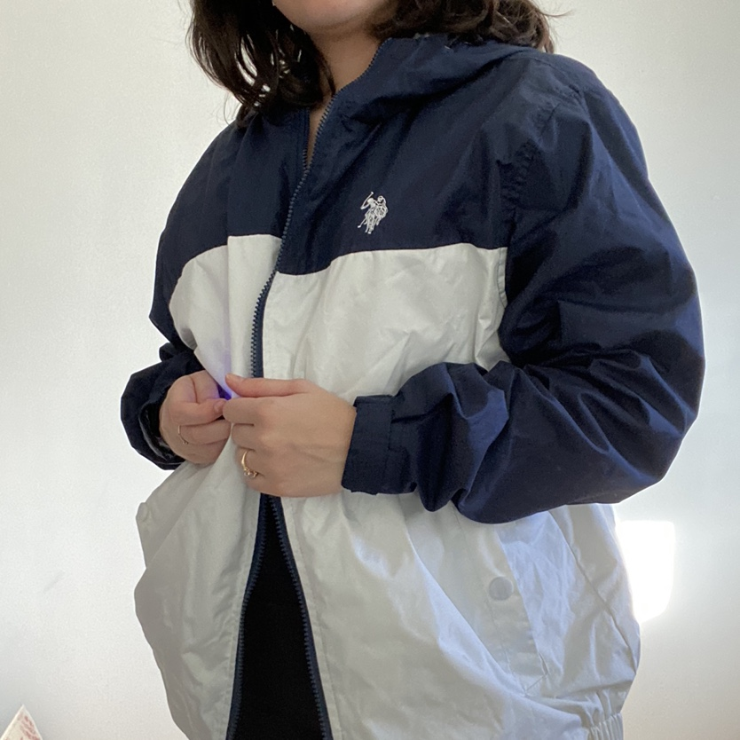 Vintage white and navy polo assassin wind breaker with