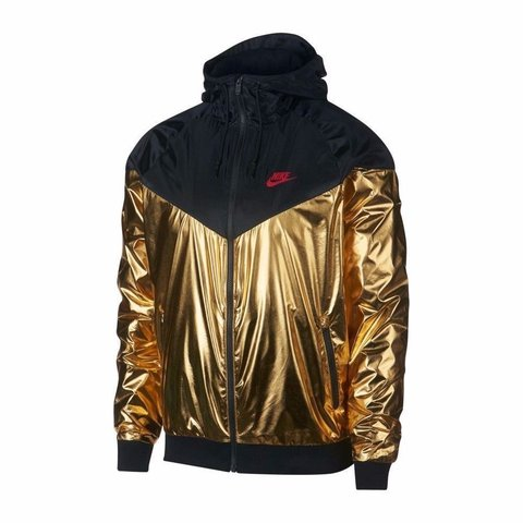 e55983aaf9e7 Black and Gold Nike Jacket Only worn once for photo Medium - Depop