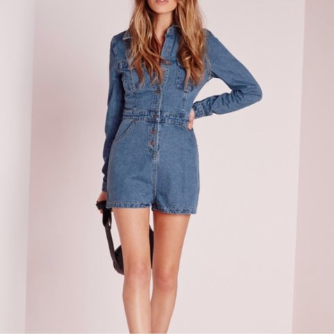 eb0bdc540fa9 Missguided size 12 denim playsuit worn once price includes - Depop
