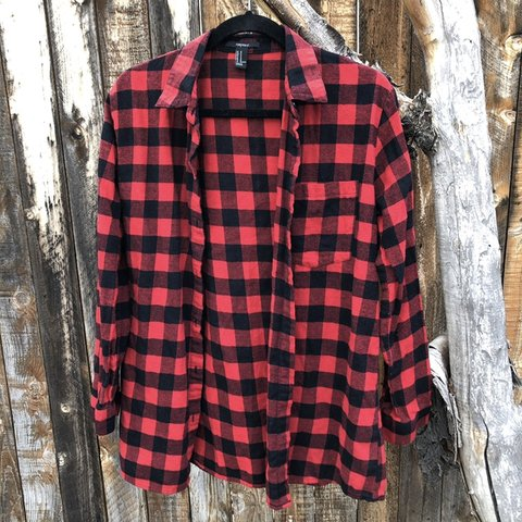a9785299 Cute, simple, red and black checkered flannel. Women's size - Depop