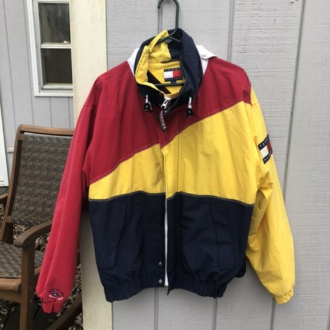 a390b988 Vintage Tommy Hilfiger color block jacket. In great Size - Depop