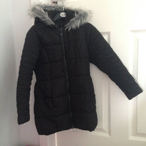 9afb9c32e Black girls parka jacket from George at asda age 7-8yrs. bow - Depop