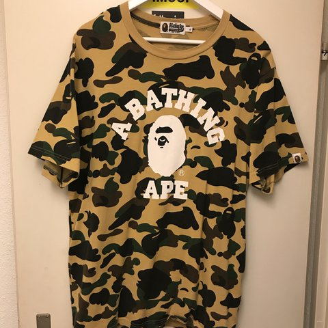 e5239608 100% Authentic Bape Yellow Camo T-Shirt / Size Extra Large / - Depop