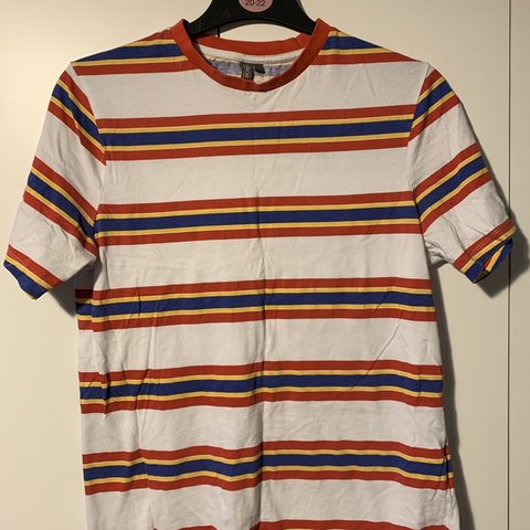5af6c86693 @rosieegr. 13 days ago. Whitstable, United Kingdom. Men's Asos Design  Primary colours striped t-shirt. Red, Yellow and Blue ...