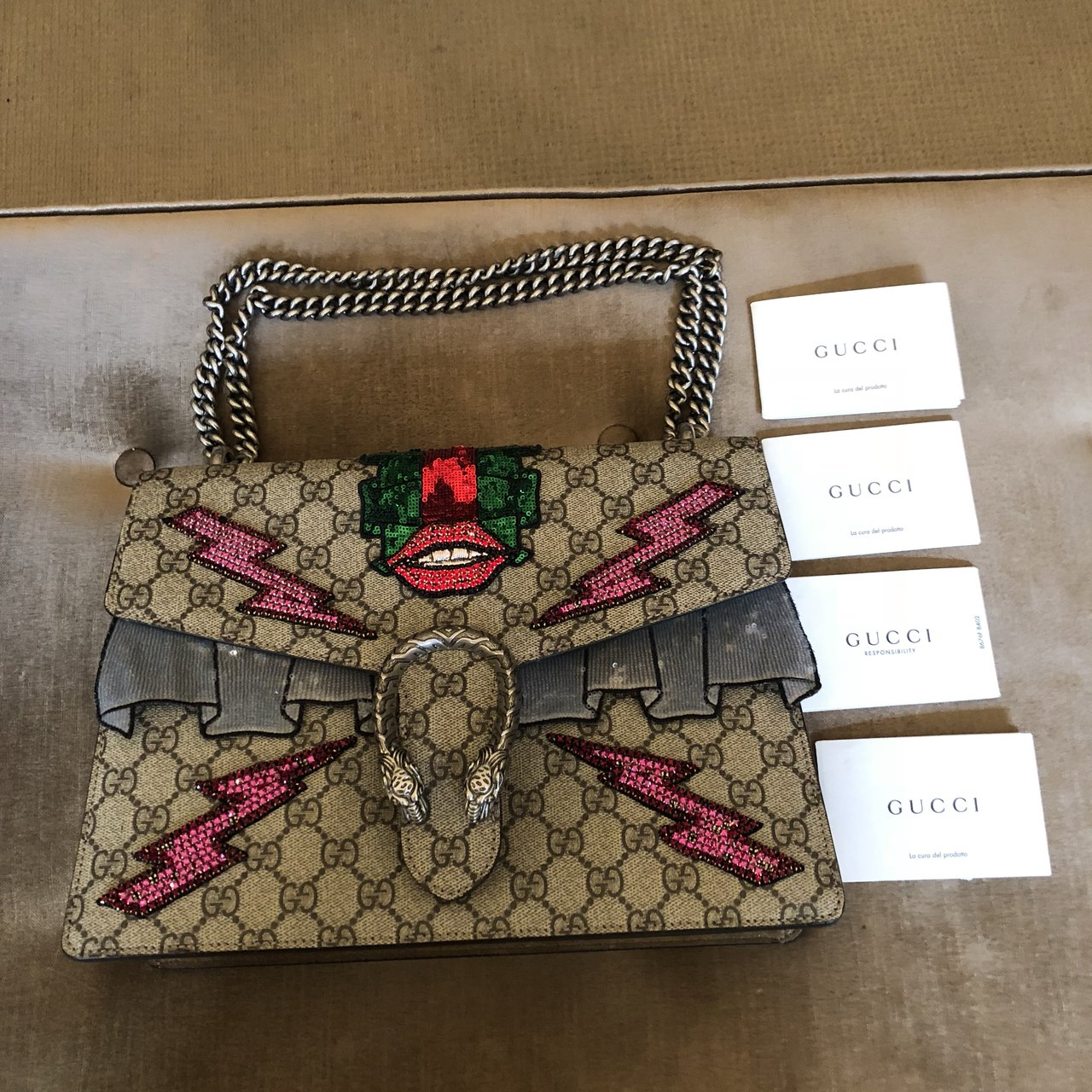 fedb159f69d @thecrownjewels. 17 days ago. London, United Kingdom. GUCCI DIONYSUS GG  SUPREME LIGHTNING CANVAS SHOULDER BAG ...