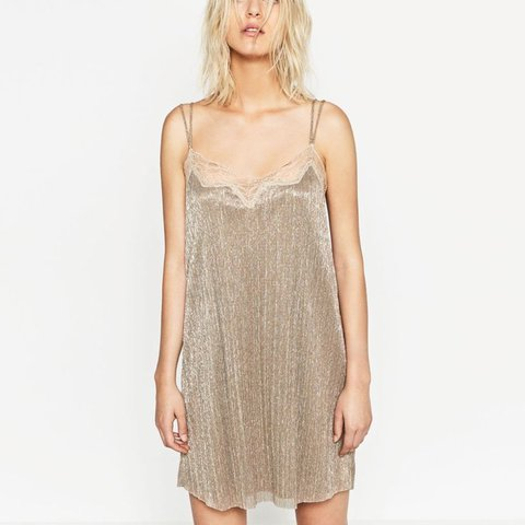 6385e44f @iwanttobeabear. last year. Sheffield, UK. BRAnD NEW with TaGs!! Zara gold metallic  sparkly glitter pleated camisole cami party dress ...