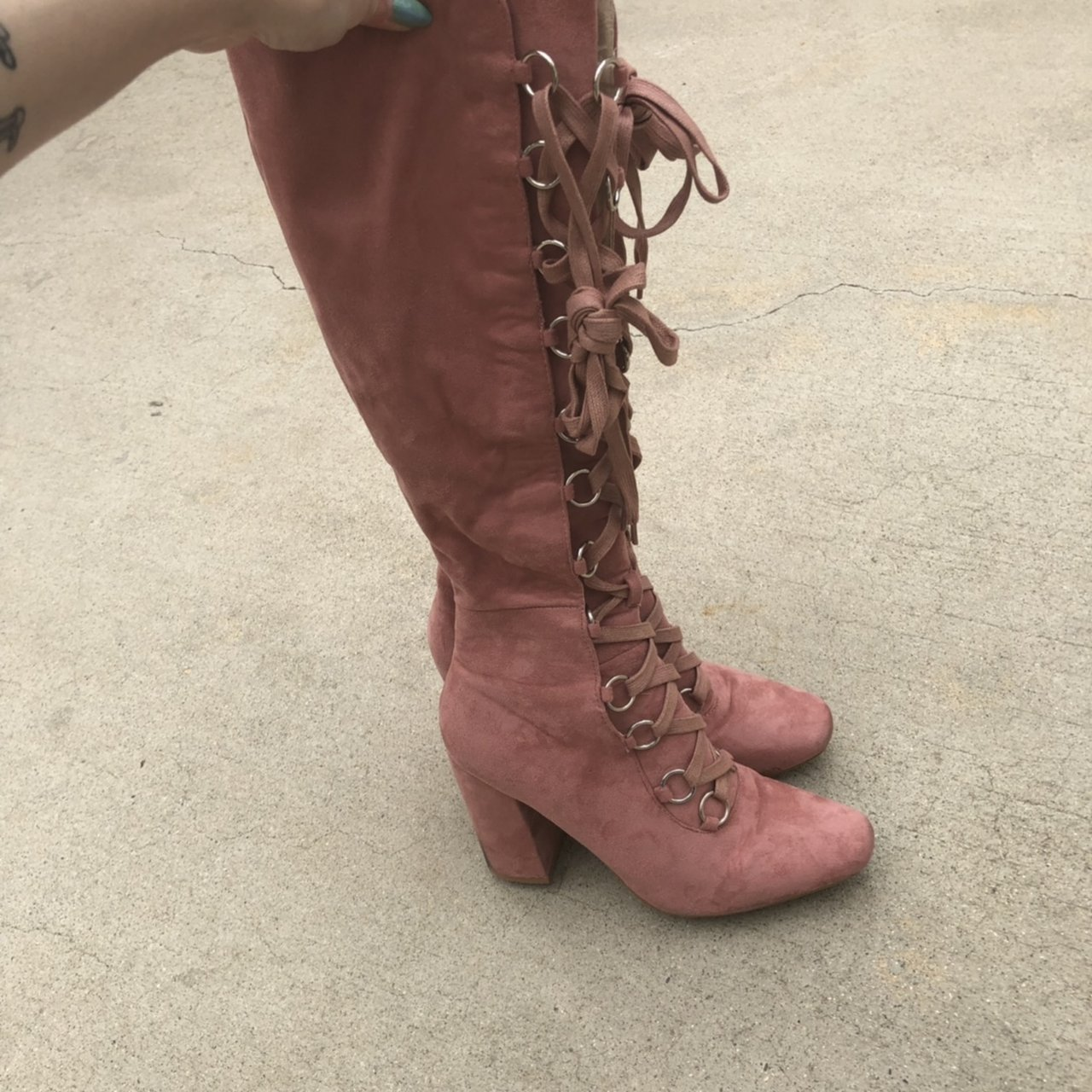f410e860227 PUBLIC DESIRE dusty pink piratey lace up chunky heel boots a - Depop
