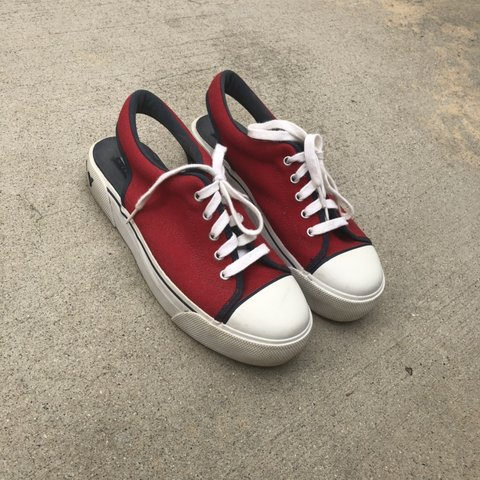 6a21ce3d3c5 VINTAGE TOMMY HILFIGER platform slip on tennis shoes in red - Depop