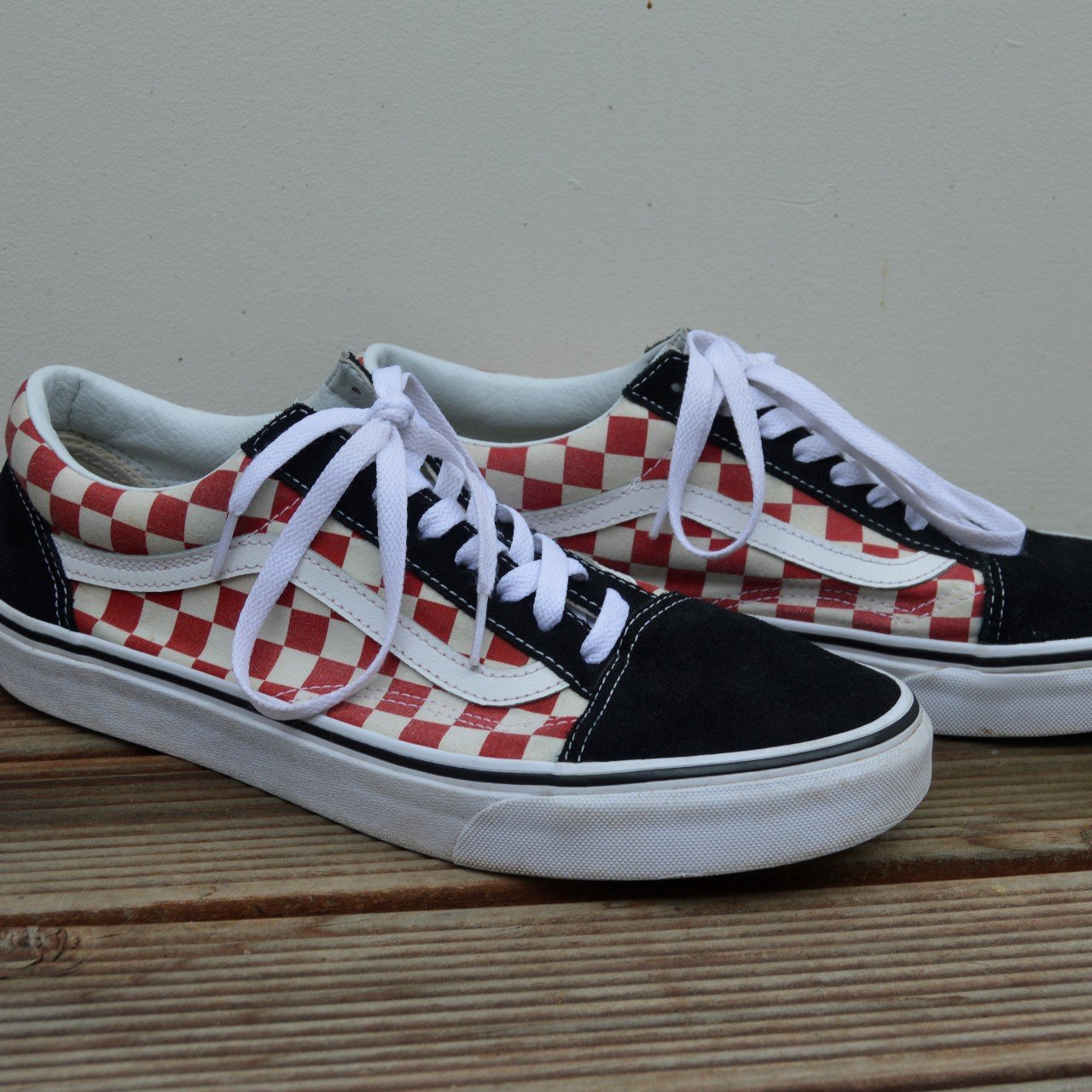 95738aa9ab1320 Vans old skool red checkerboard. - Worn for a month but - Depop