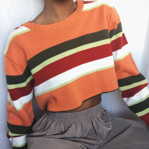 785ae9a01ba 90s Striped Crop Top Sweater Details  Long sleeve