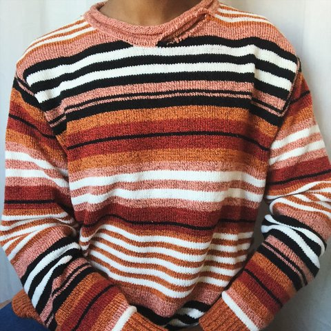 70b784d6878 90s Orange Stripe Knit sweater Details  Long sleeve
