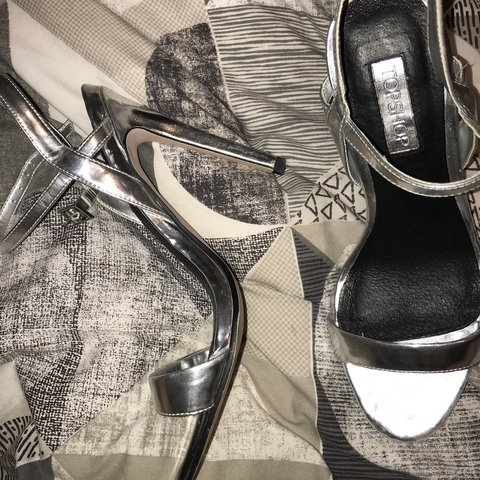13a8d07956c Top shop silver heels Really good condition as only worn 4 a - Depop