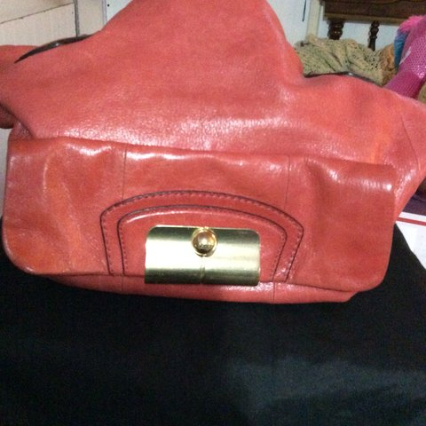 638543360 @sirbrighton. 5 months ago. Paramus, United States. Red leather vintage  authentic coach bag with gold chain handle great condition