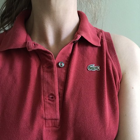 98f9ac508 Super cute vintage Lacoste red sleeveless button up polo top - Depop