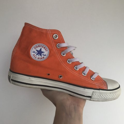a6ef7ce4b862 Bright orange vintage hi high top converse 5.5