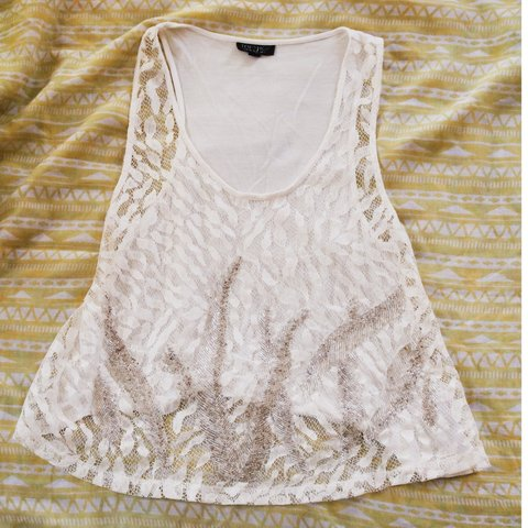 584f0730f6b5 @asw179. last month. Windham, Windham County, United States. Topshop Women's  White Sequin Beaded Embellished Detail Swing Tank Top ...