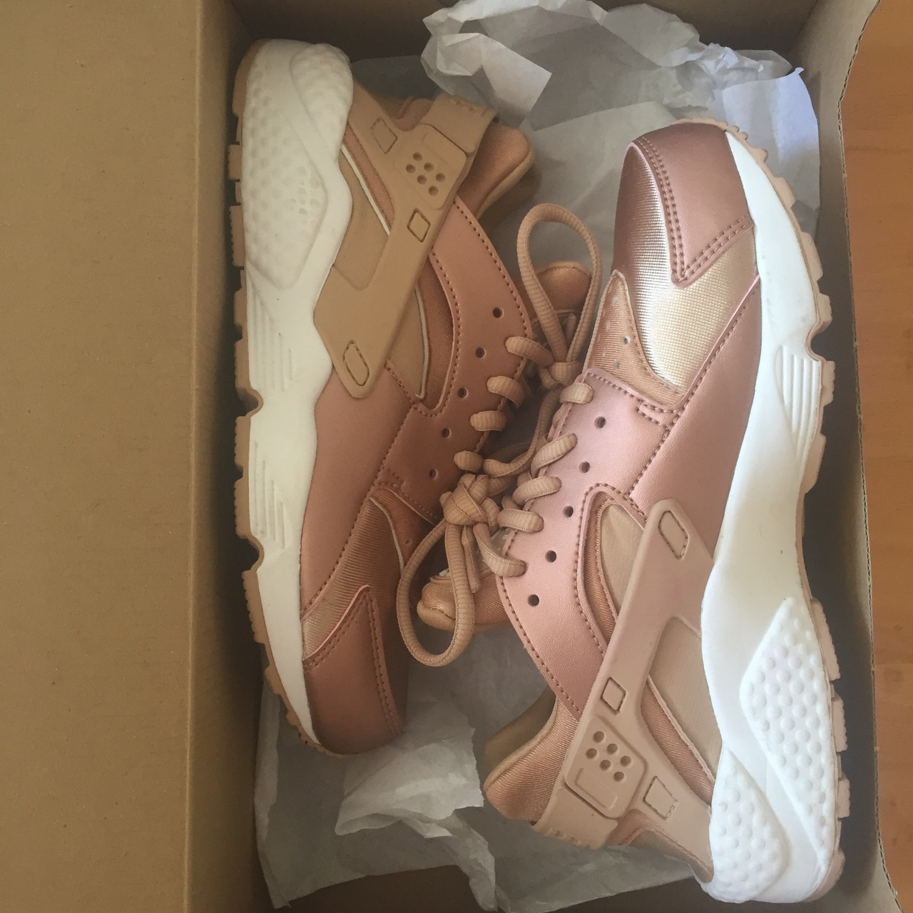 sneakers new concept new arrivals Nike Huarache rose gold size 36,5 comes with box.... - Depop