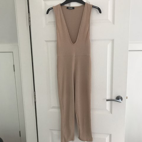 3f0b501c3cc9 Missguided Ribbed Sleeveless 3 4 Leg Unitard Jumpsuit Camel - Depop