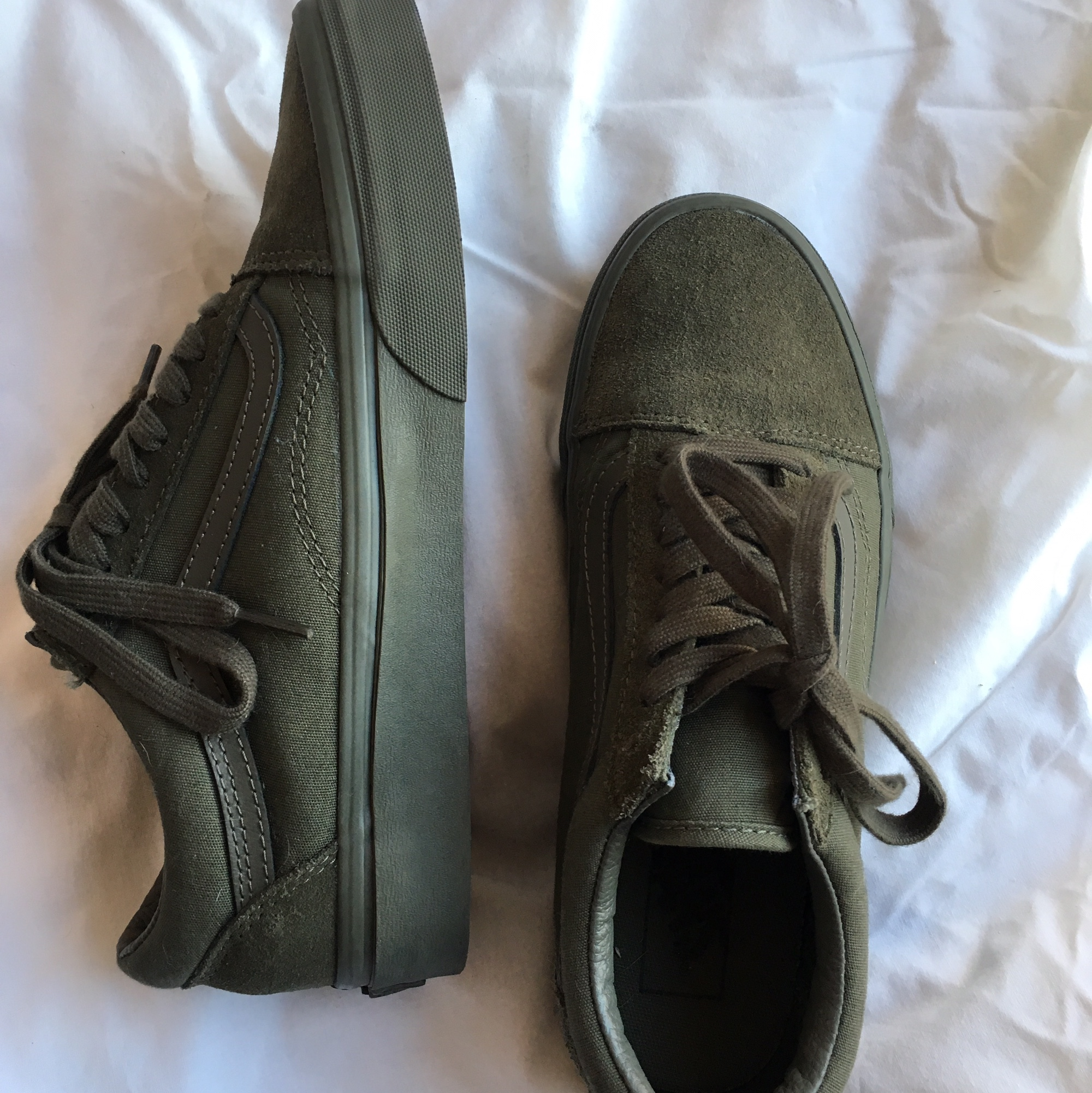 VANS old skool Mono canvas & suede olive    - Depop