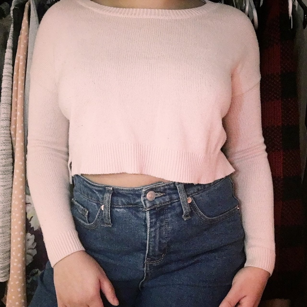 73888261cc20e Baby pink cropped sweater. One of my faves. Super cute a S - Depop