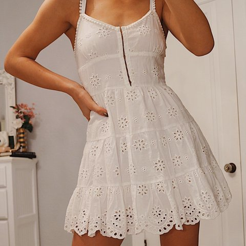 33175b08b08 Forever 21 white eyelet dress with amazing hook and eye as a - Depop