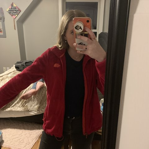 70ce656d37025 @lizmartens. 5 months ago. Boulder, United States. Very fuzzy North Face  zip up jacket. Bright pink with orange ...